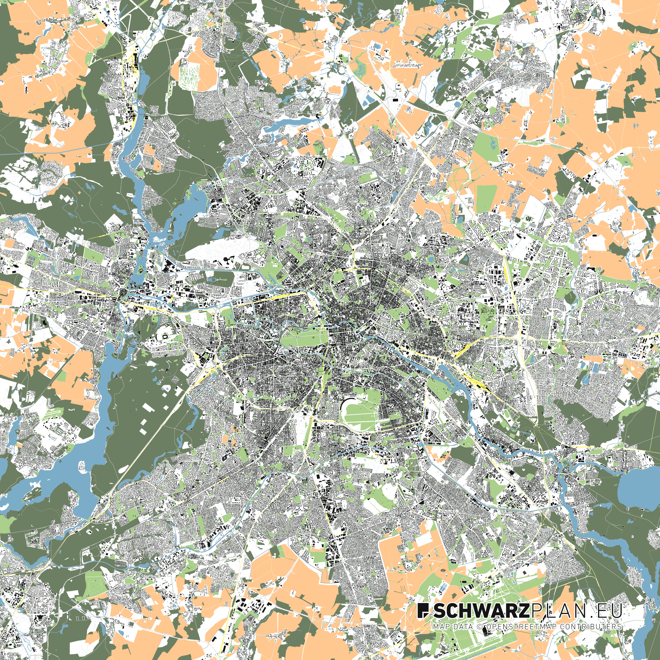Lageplan von Berlin mit Schienen und Höhenlinien