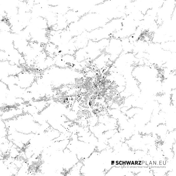 Schwarzplan von Chemnitz
