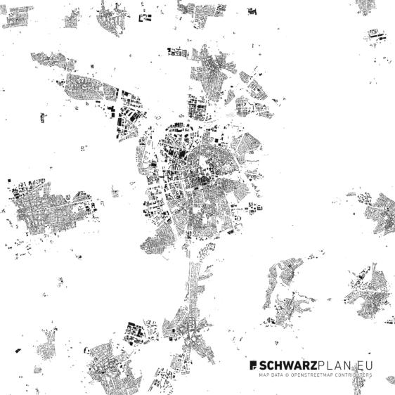 Schwarzplan von Darmstadt