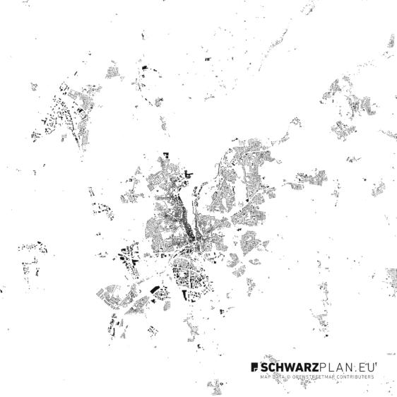 Schwarzplan von Flensburg
