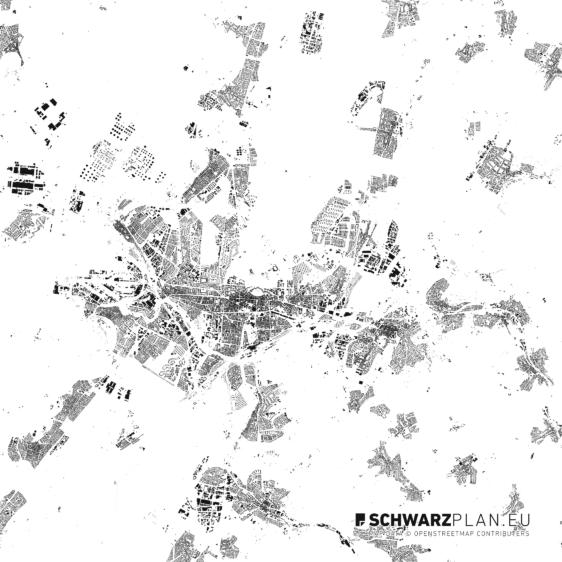 Schwarzplan von Karlsruhe