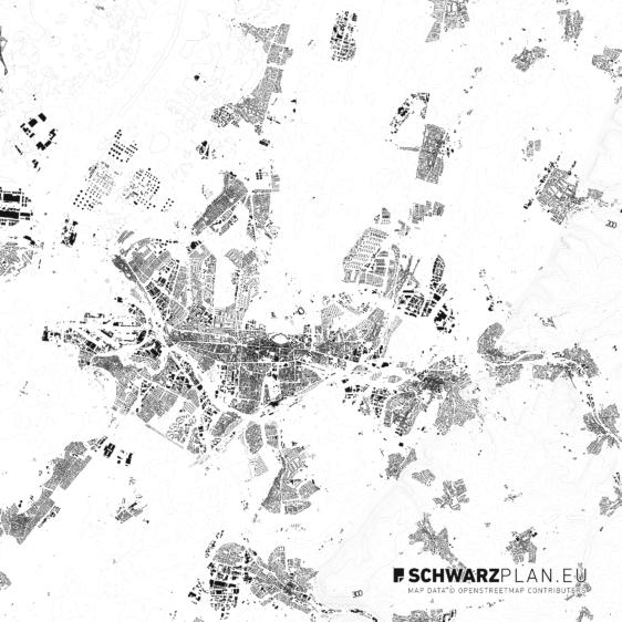 Schwarzplan von Karlsruhe mit Höhenlinien
