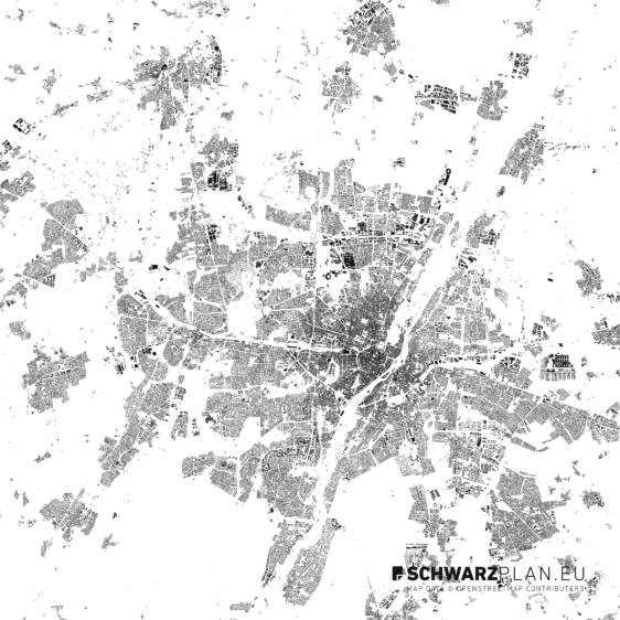 Schwarzplan von München
