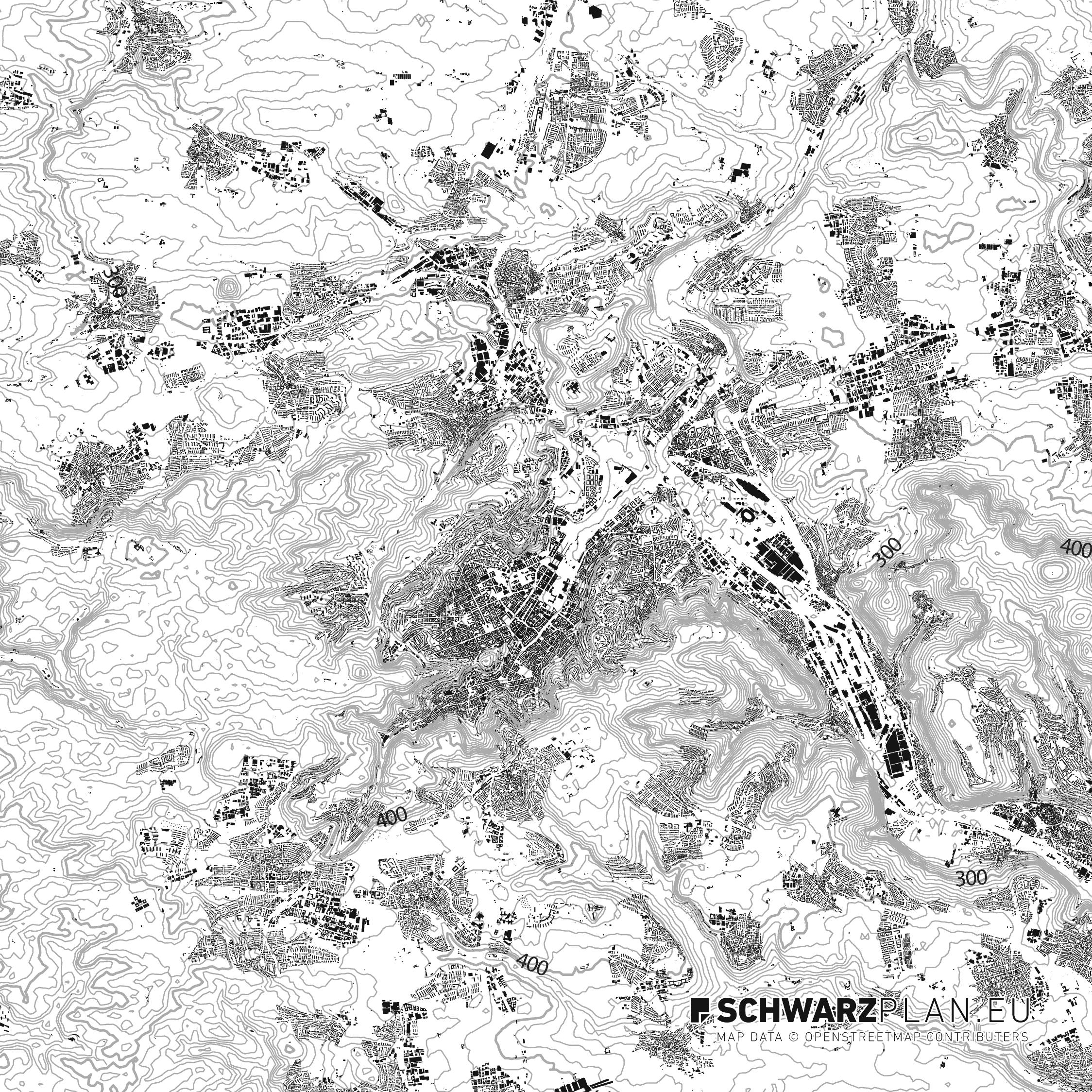 Schwarzplan von Stuttgart