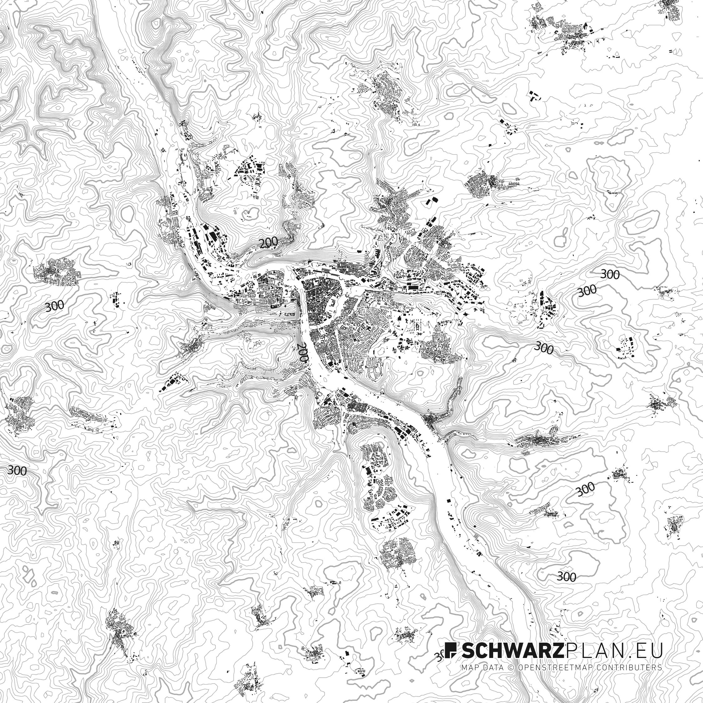 Schwarzplan von Würzburg