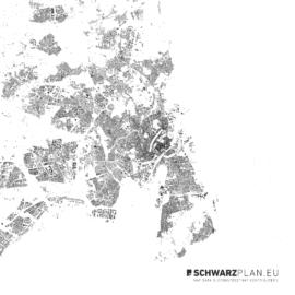 Schwarzplan von Kopenhagen in Dänemark
