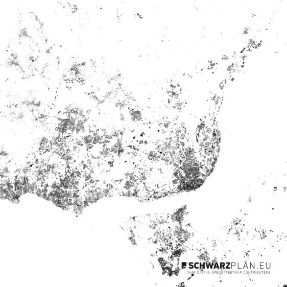 Schwarzplan von Lissabon in Portugal