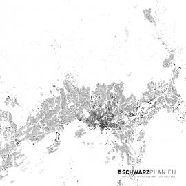 Schwarzplan von Oslo