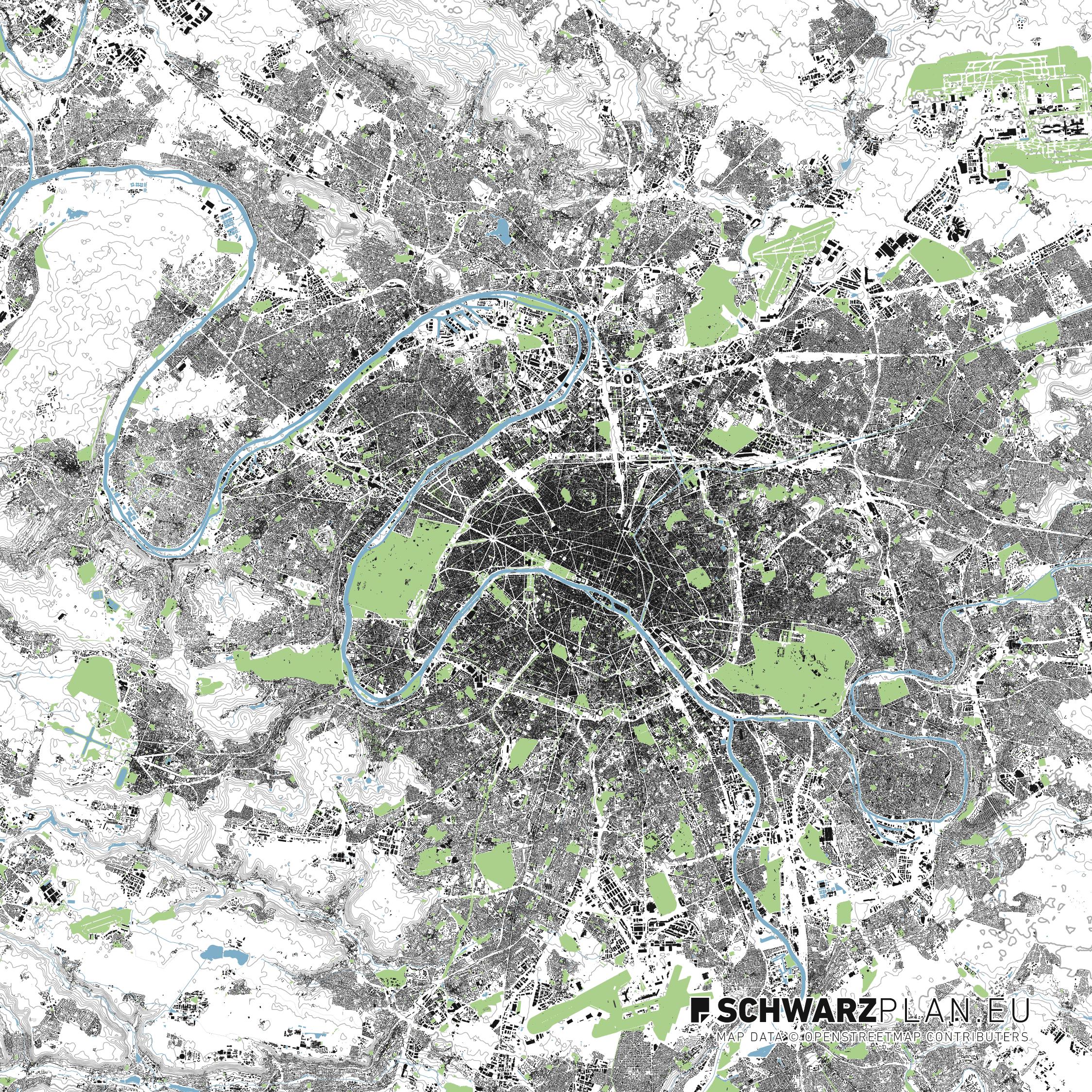 Lageplan von Paris in Frankreich