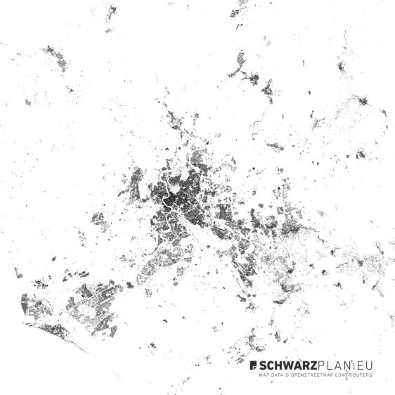 Schwarzplan von Rom in Italien