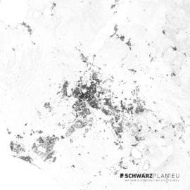 Schwarzplan von Rom in Italien mit Höhenlinien