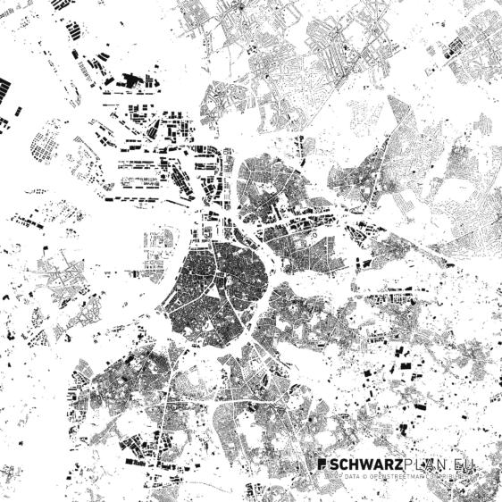 Schwarzplan von Antwerpen