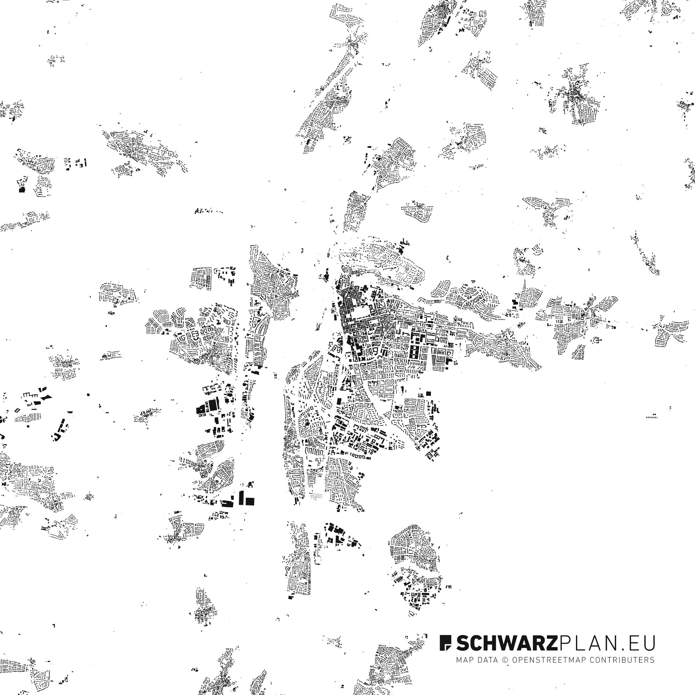 Schwarzplan von Erlangen