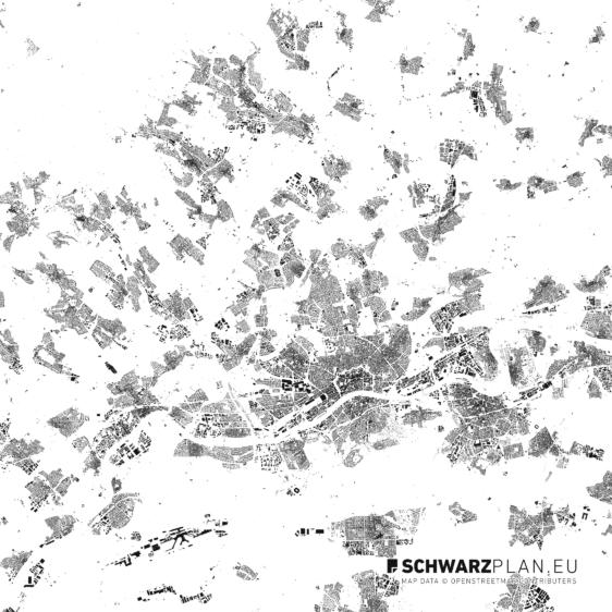 Schwarzplan von Frankfurt am Main