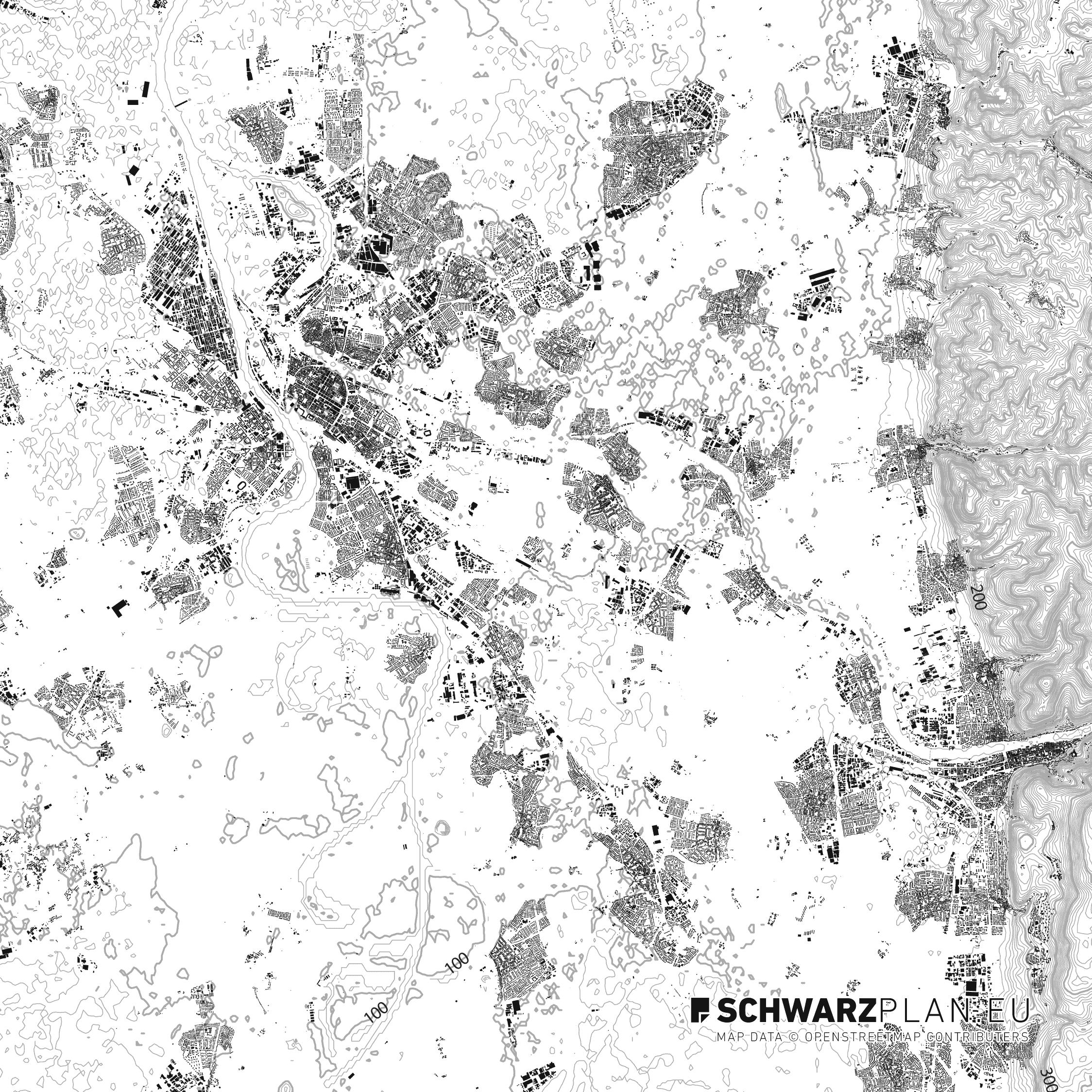 Schwarzplan von Heidelberg