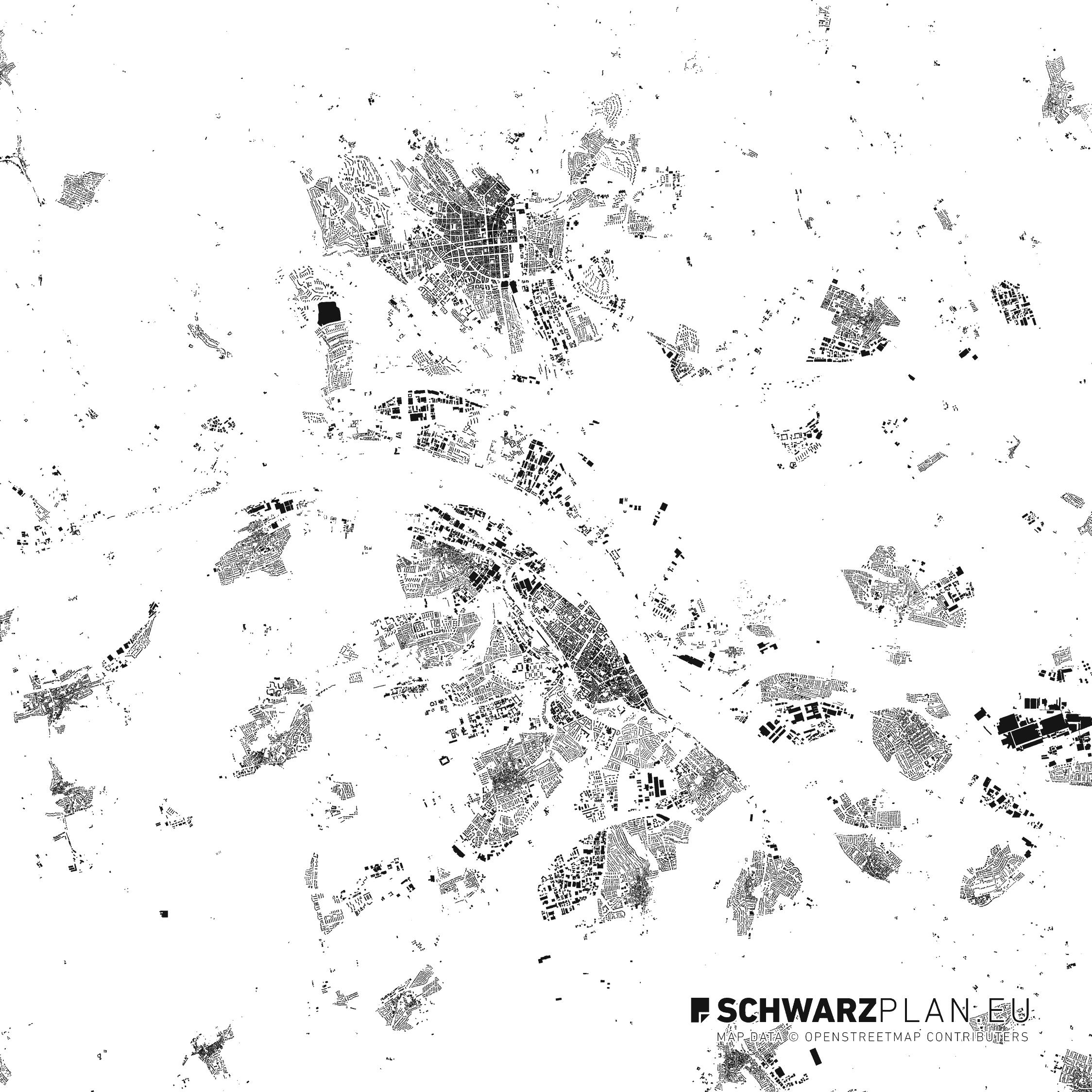 Schwarzplan von Mainz und Wiesbaden