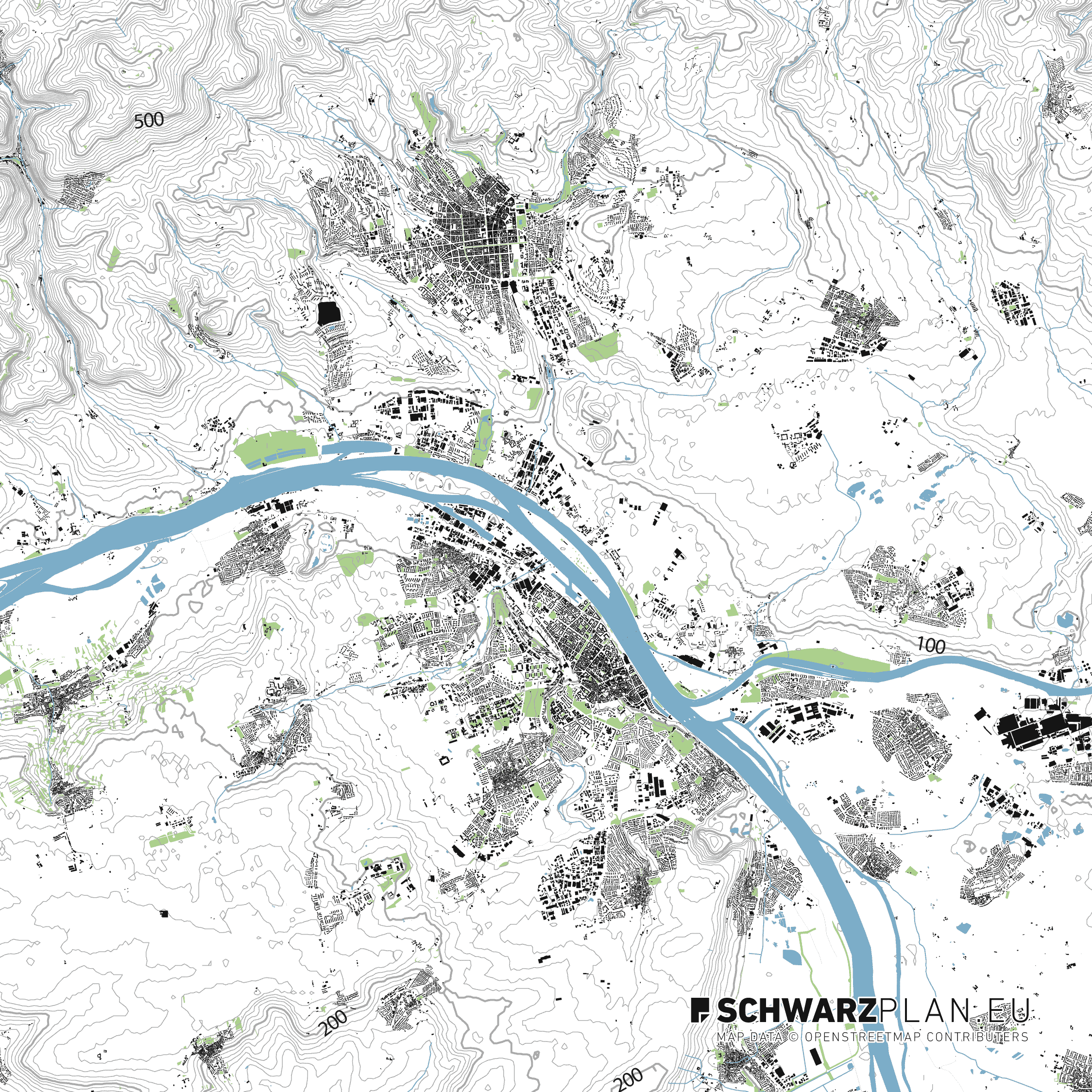 Lageplan von Mainz und Wiesbaden