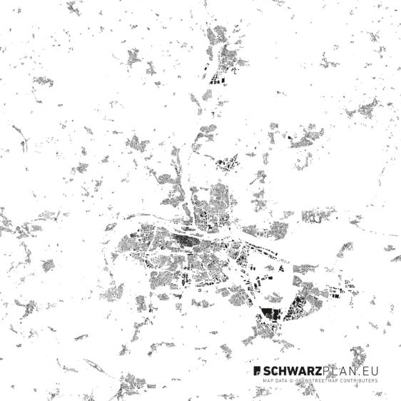 Schwarzplan von Regensburg