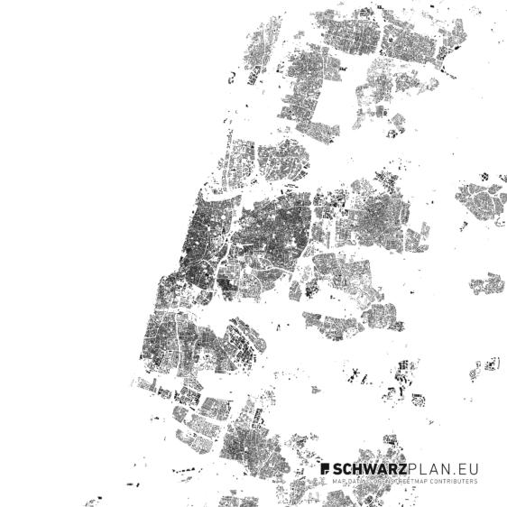 Schwarzplan von Tel Aviv in Israel