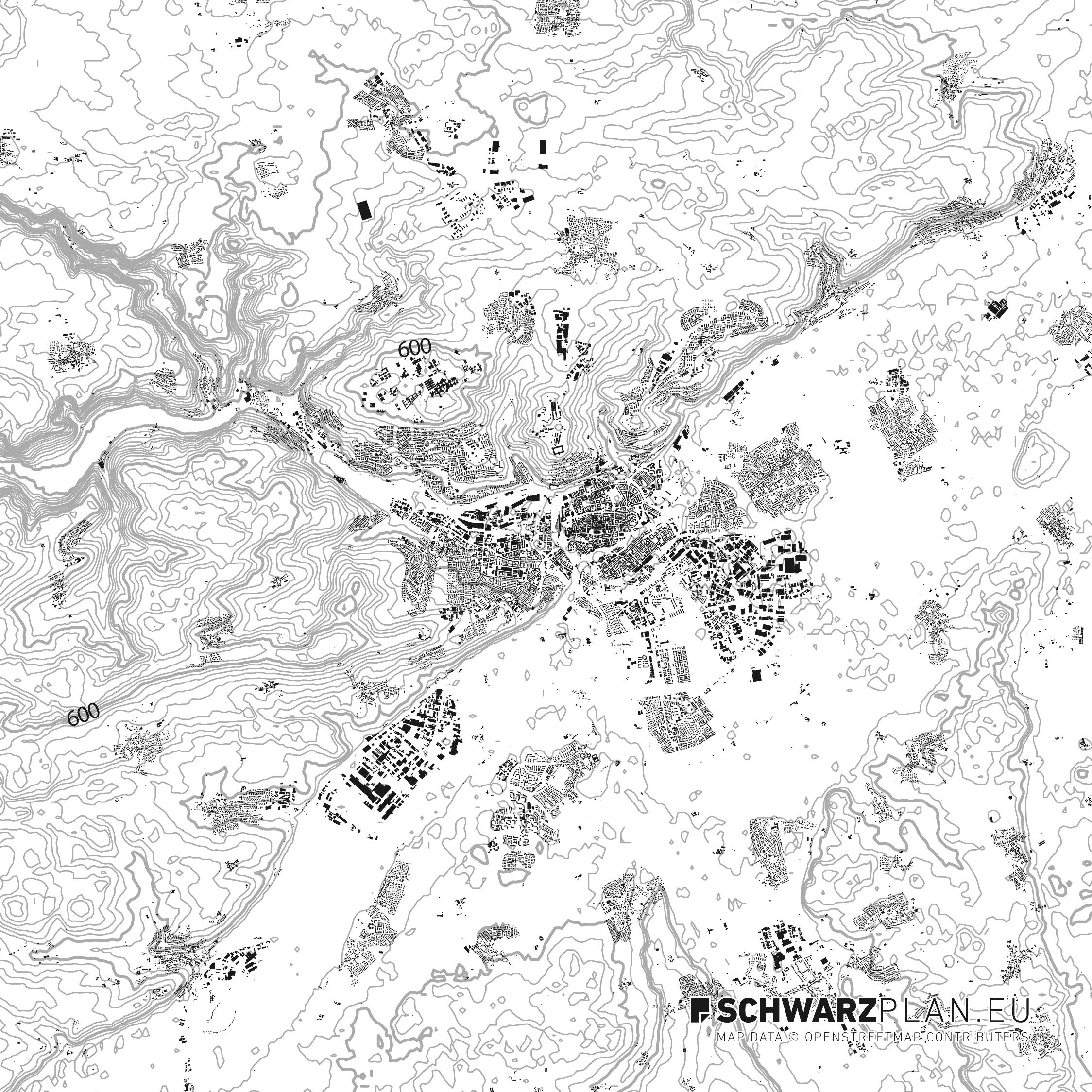 Schwarzplan von Ulm