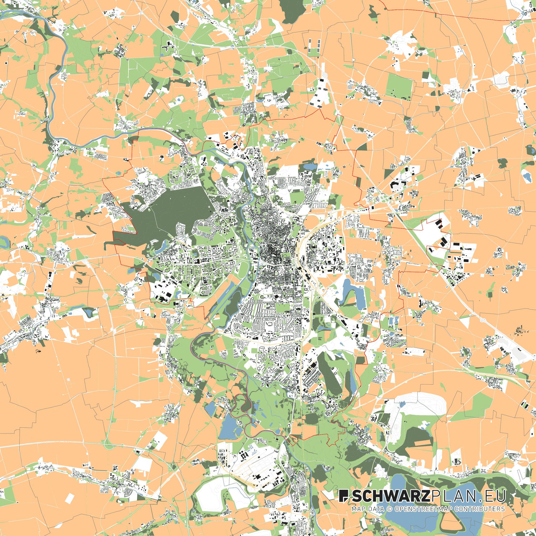 Lageplan von Halle an der Saale