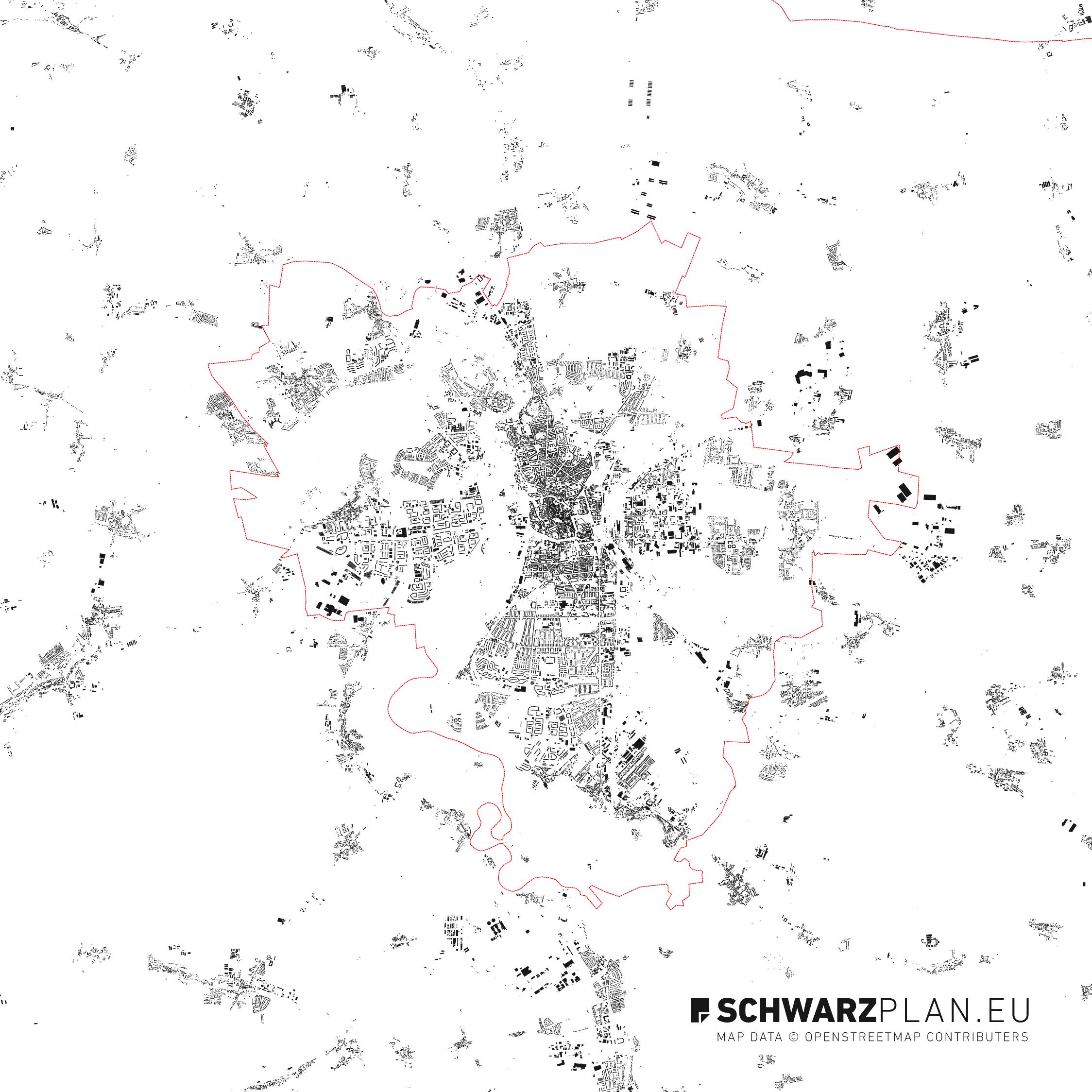 Schwarzplan von Halle an der Saale