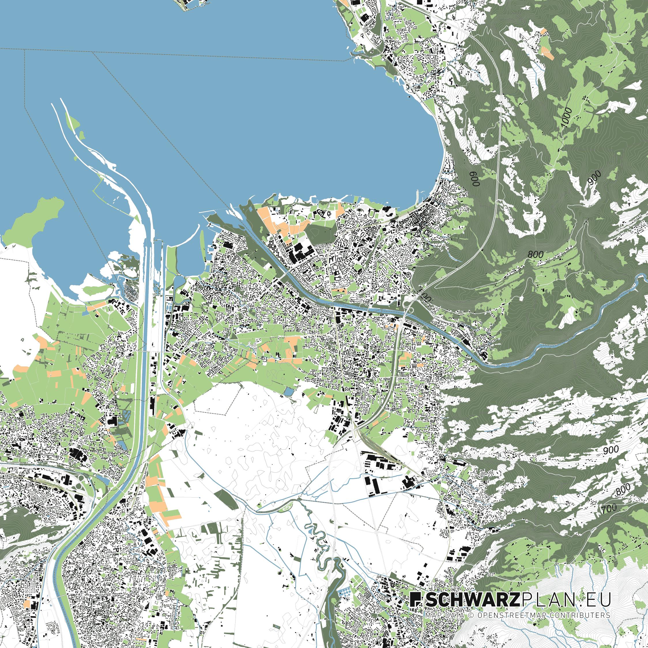 Lageplan von Bregenz in Österreich