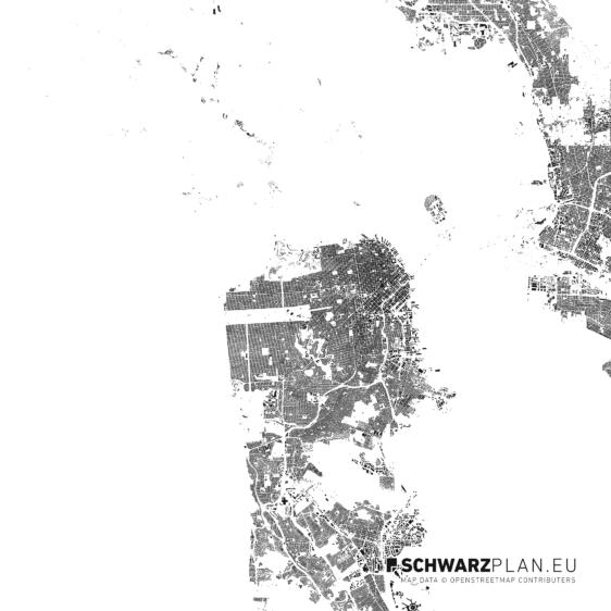 Schwarzplan von San Francisco