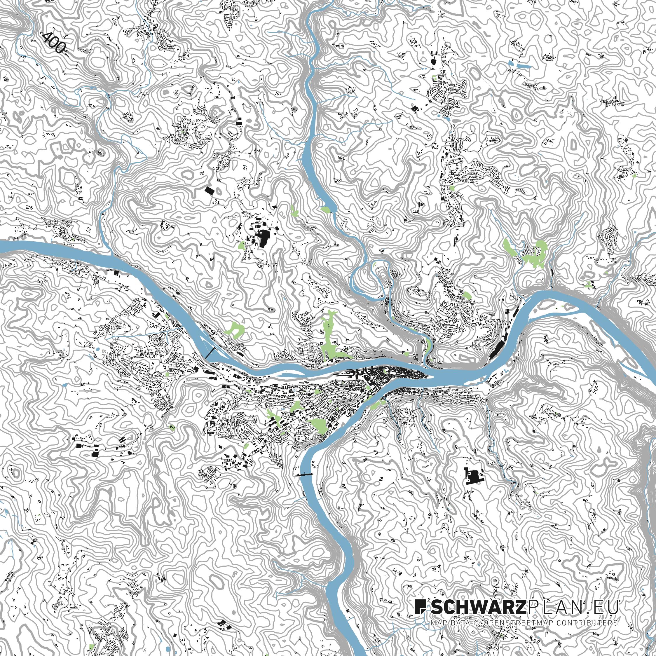 Lageplan von Passau