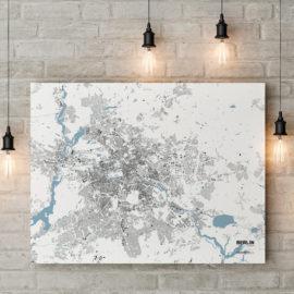 Schwarzplan von Berlin gedruckt auf Leinwand - Minmalistischer Stadtplan Berlin