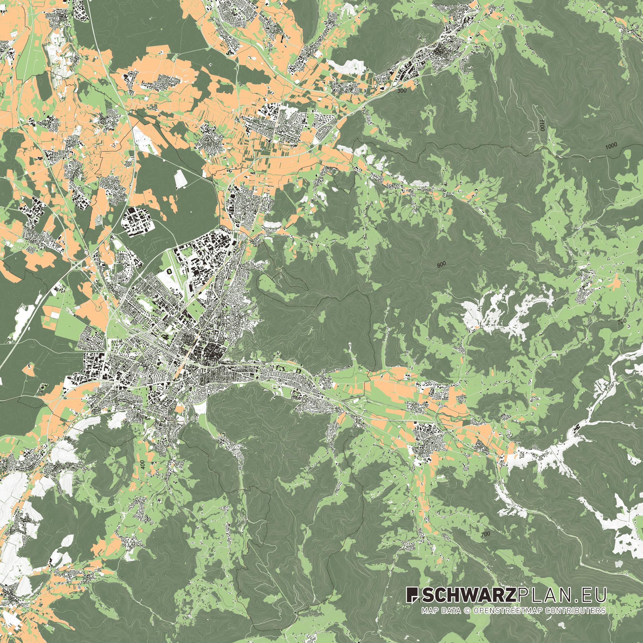 Lageplan von Freiburg im Breisgau