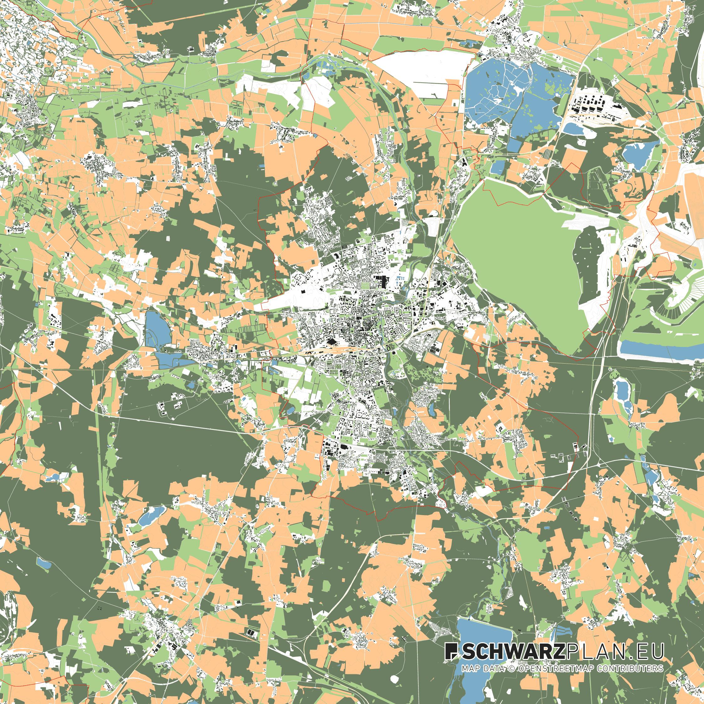 Lageplan von Cottbus