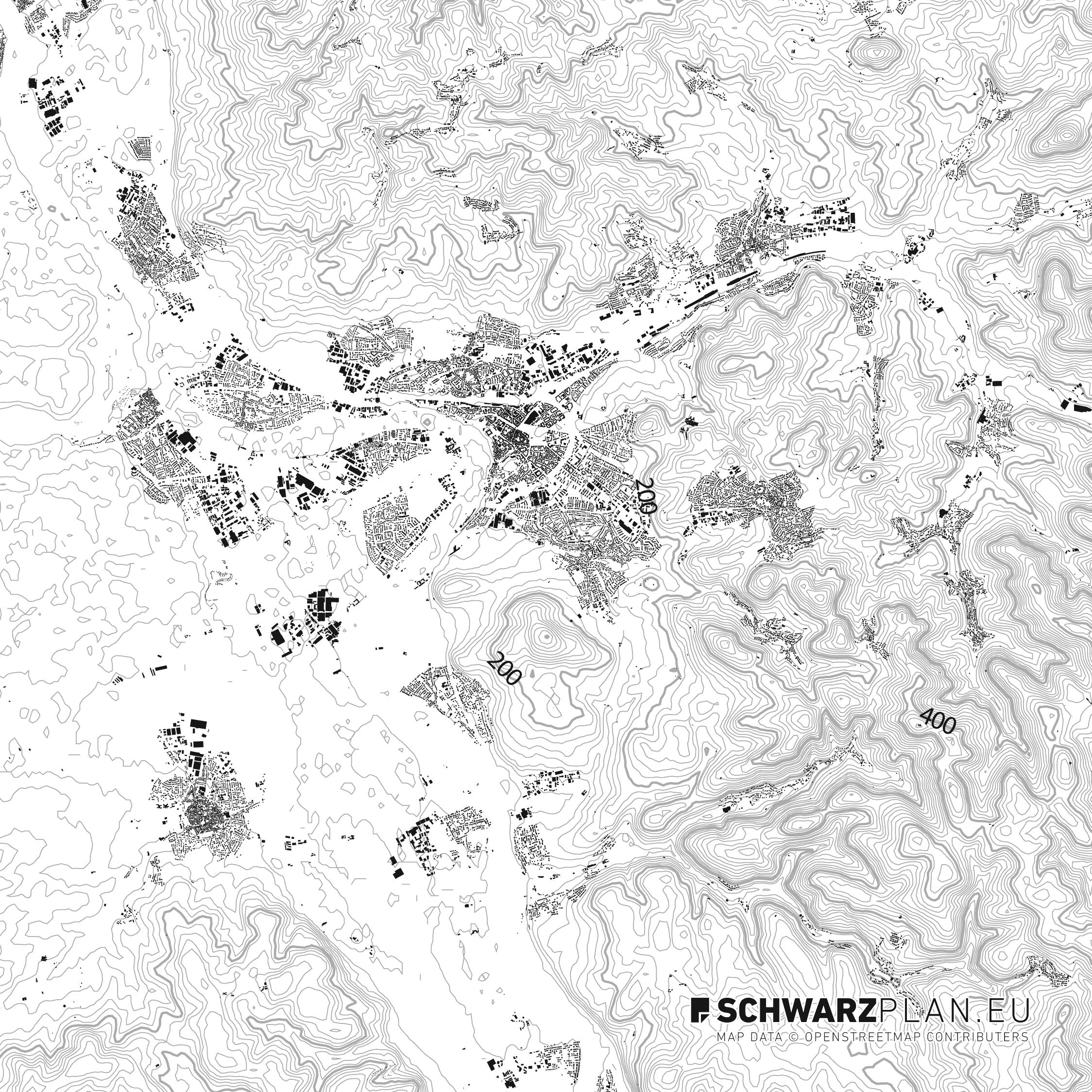 Schwarzplan von Aschaffenburg