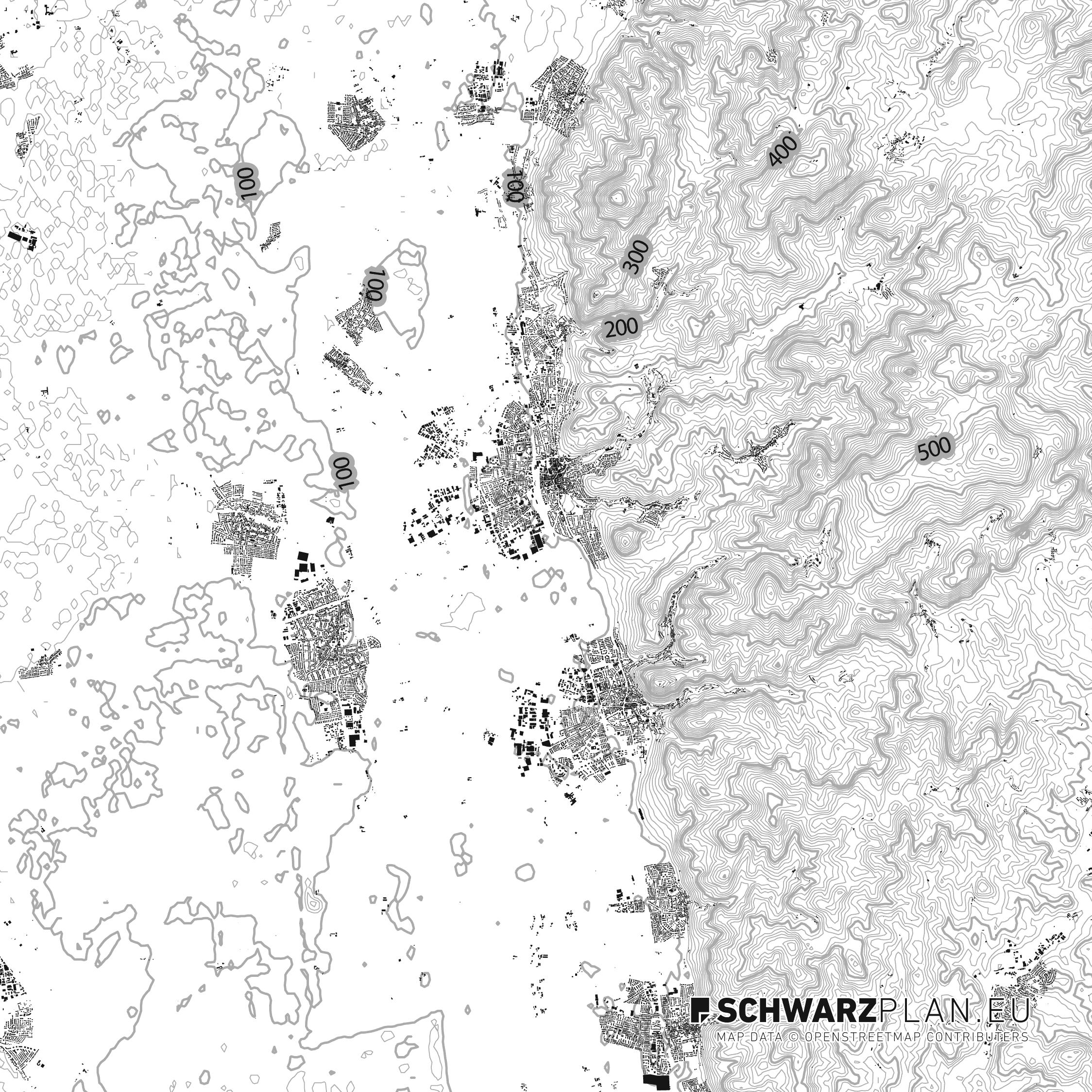Lageplan mit Höhenlinien von Bensheim
