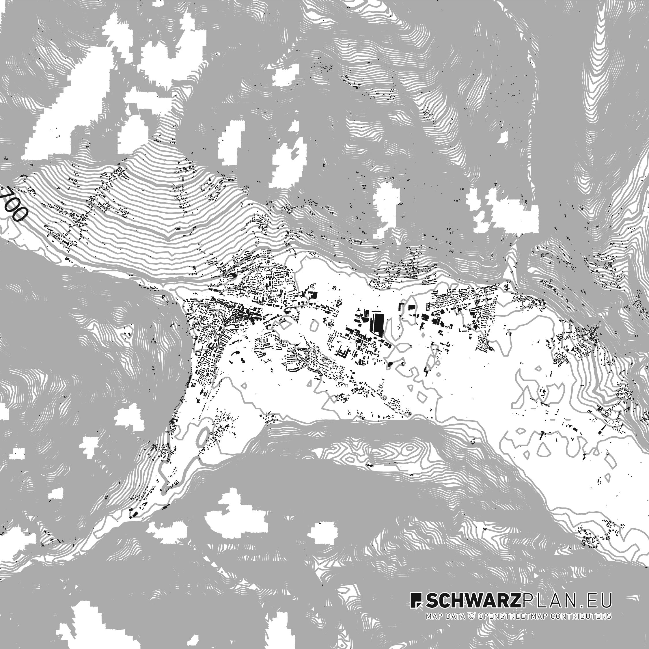 Schwarzplan von Lienz, Österreich