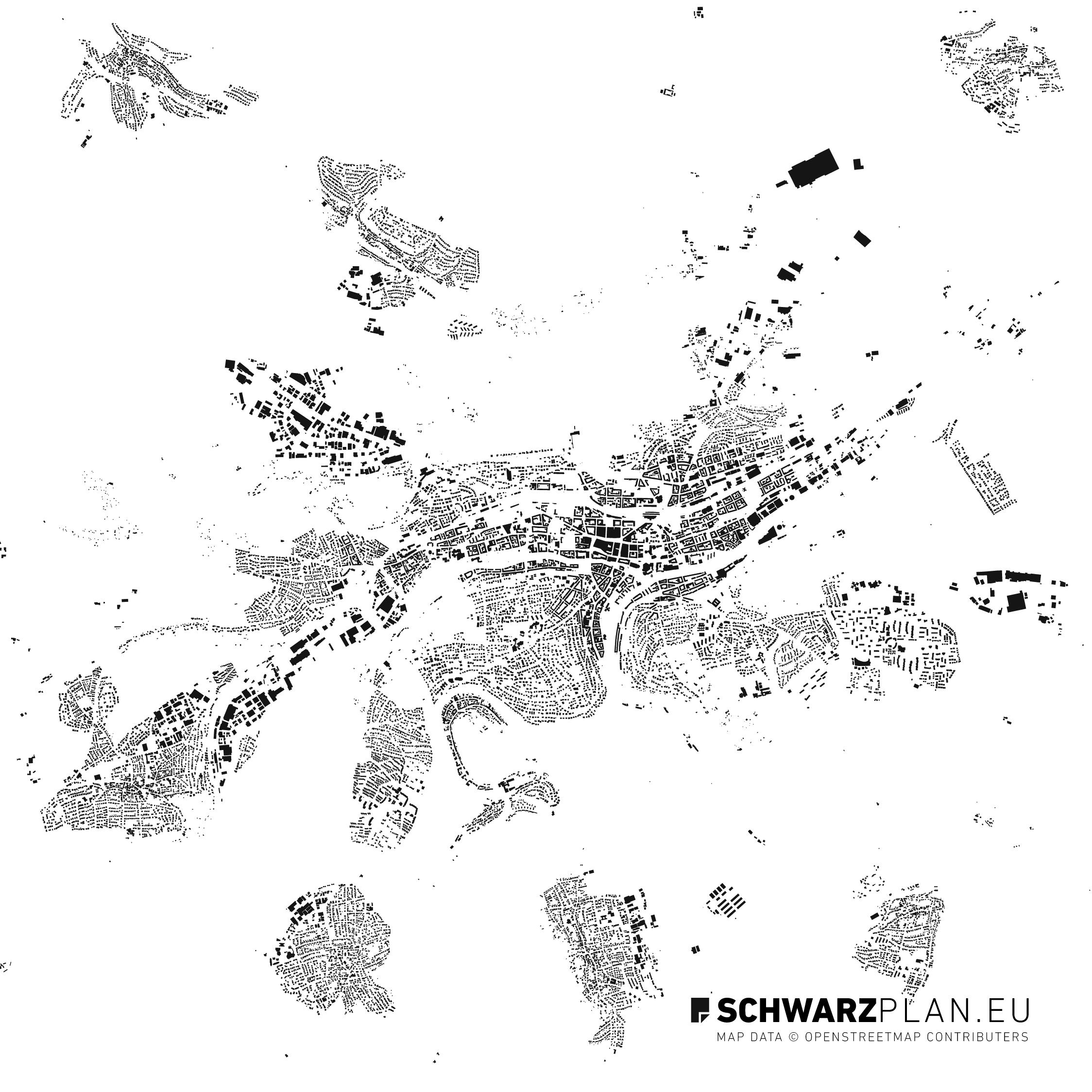 Schwarzplan von Pforzheim, Singen, Remchingen