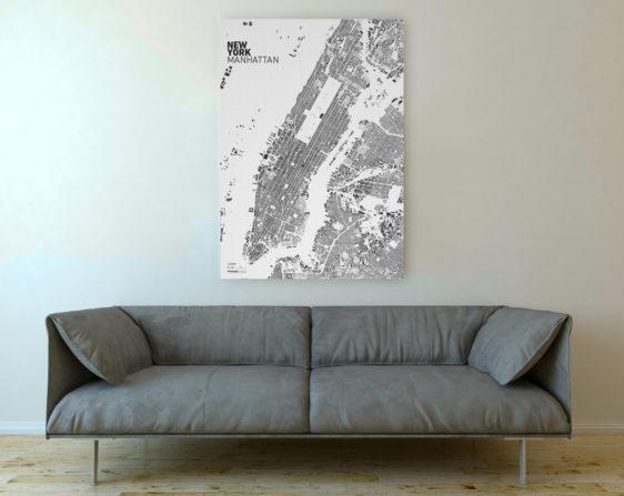 Schwarzplan von New York auf Leinwand gedruckt