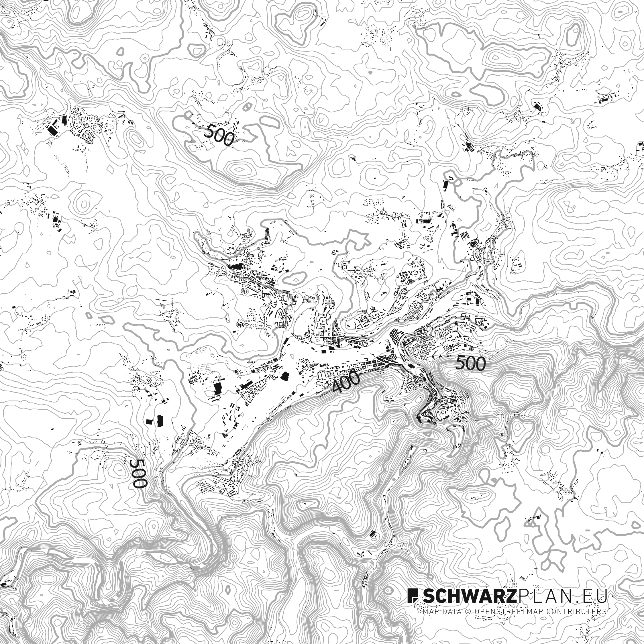 Schwarzplan von Karlsbad