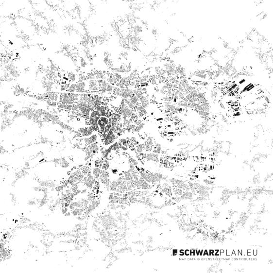 Schwarzplan von Krakau