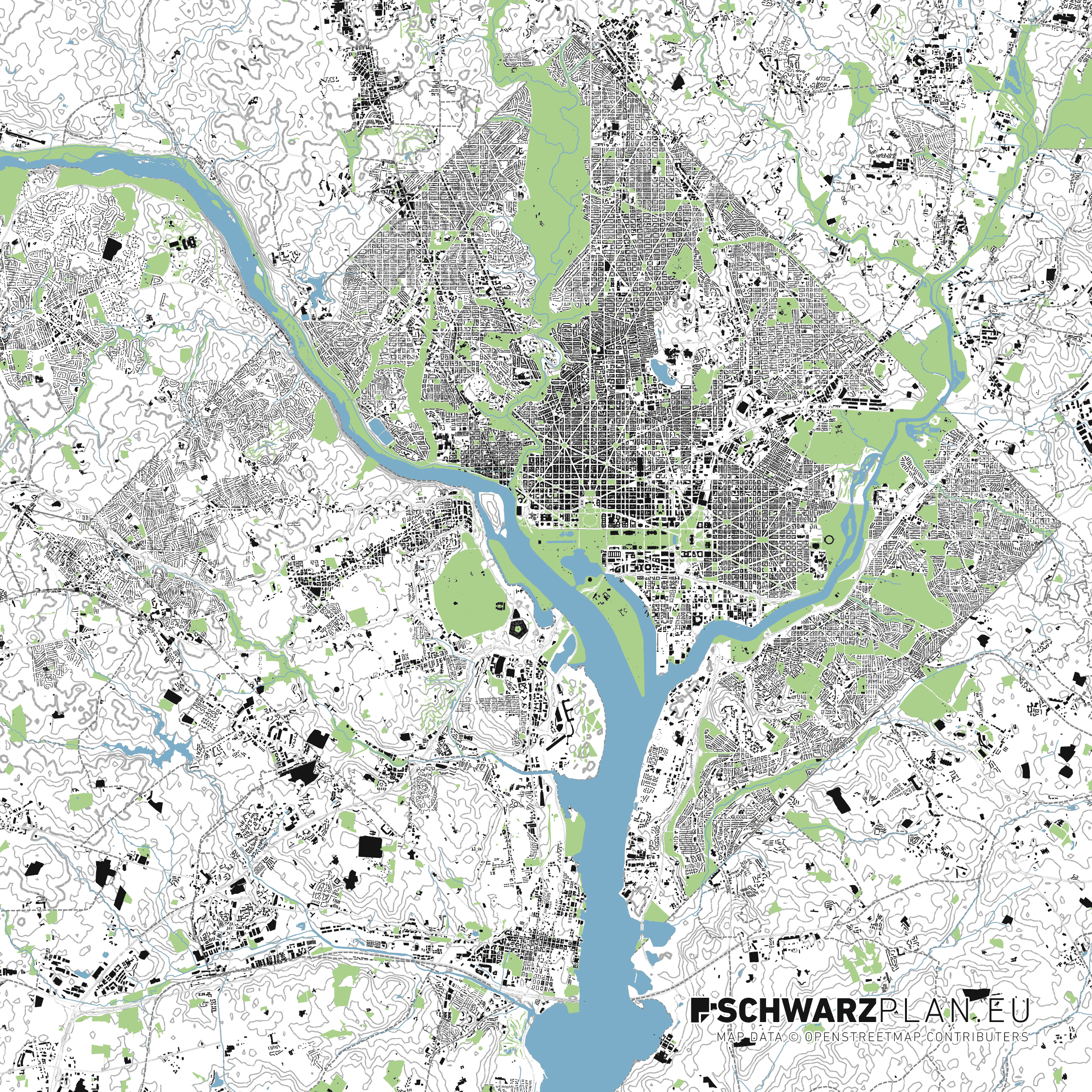 Schwarzplan & Lageplan von Washington D.C. zum Download als PDF