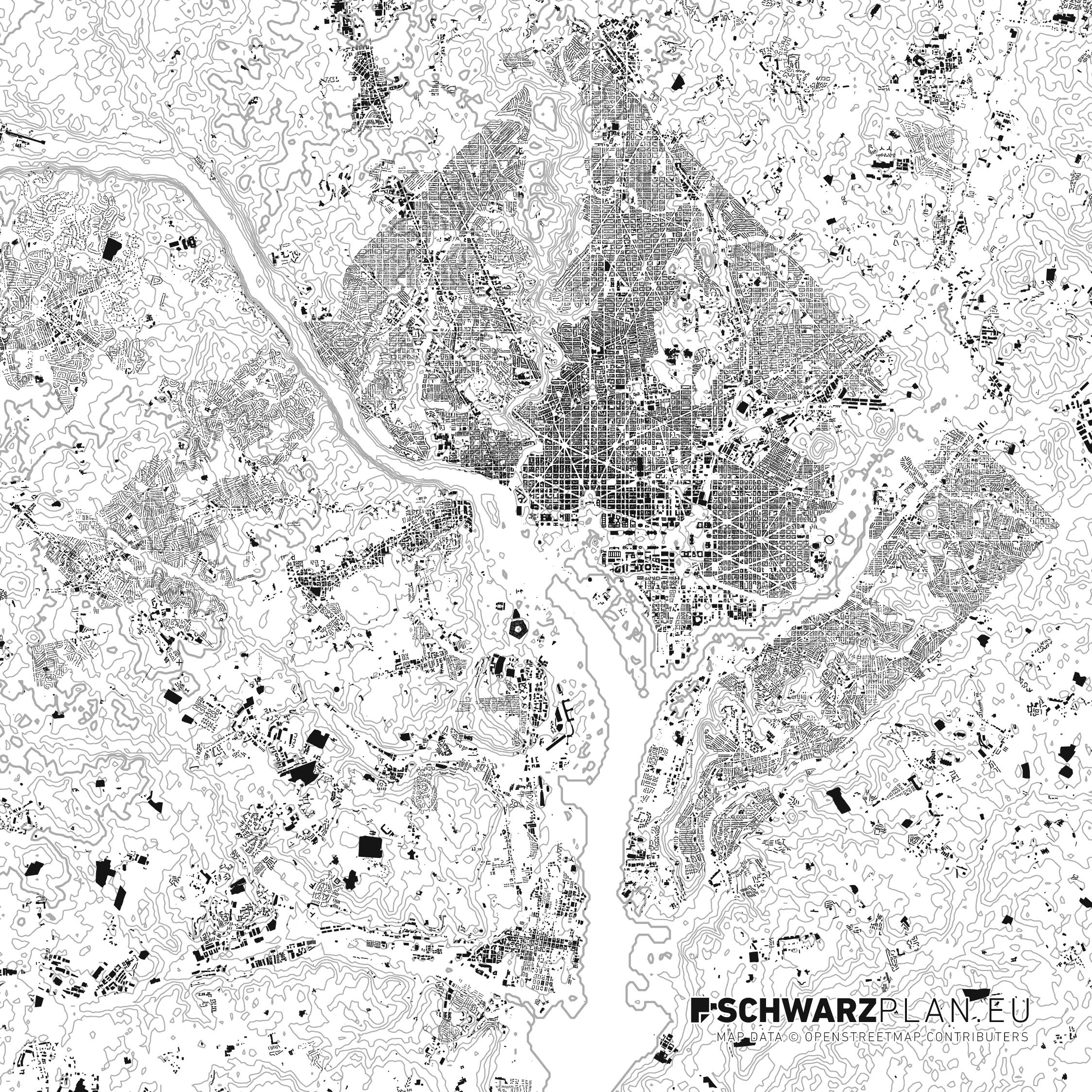 Schwarzplan von Washington