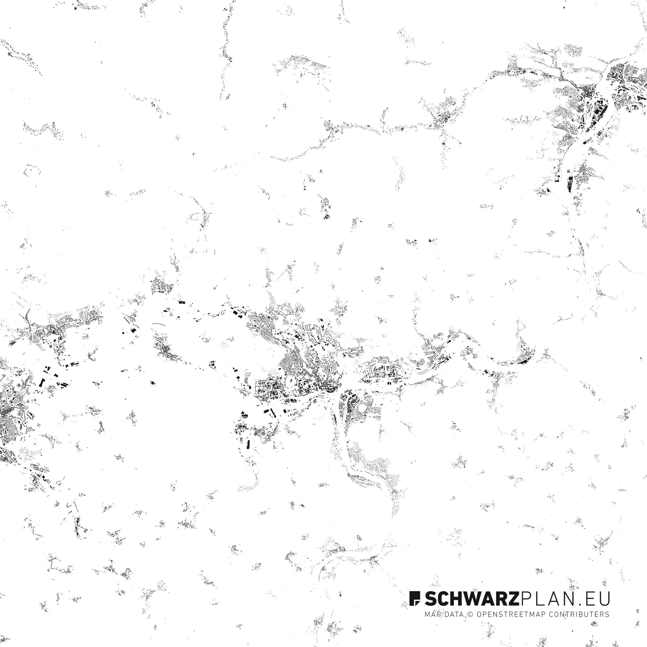 Schwarzplan von Aussig