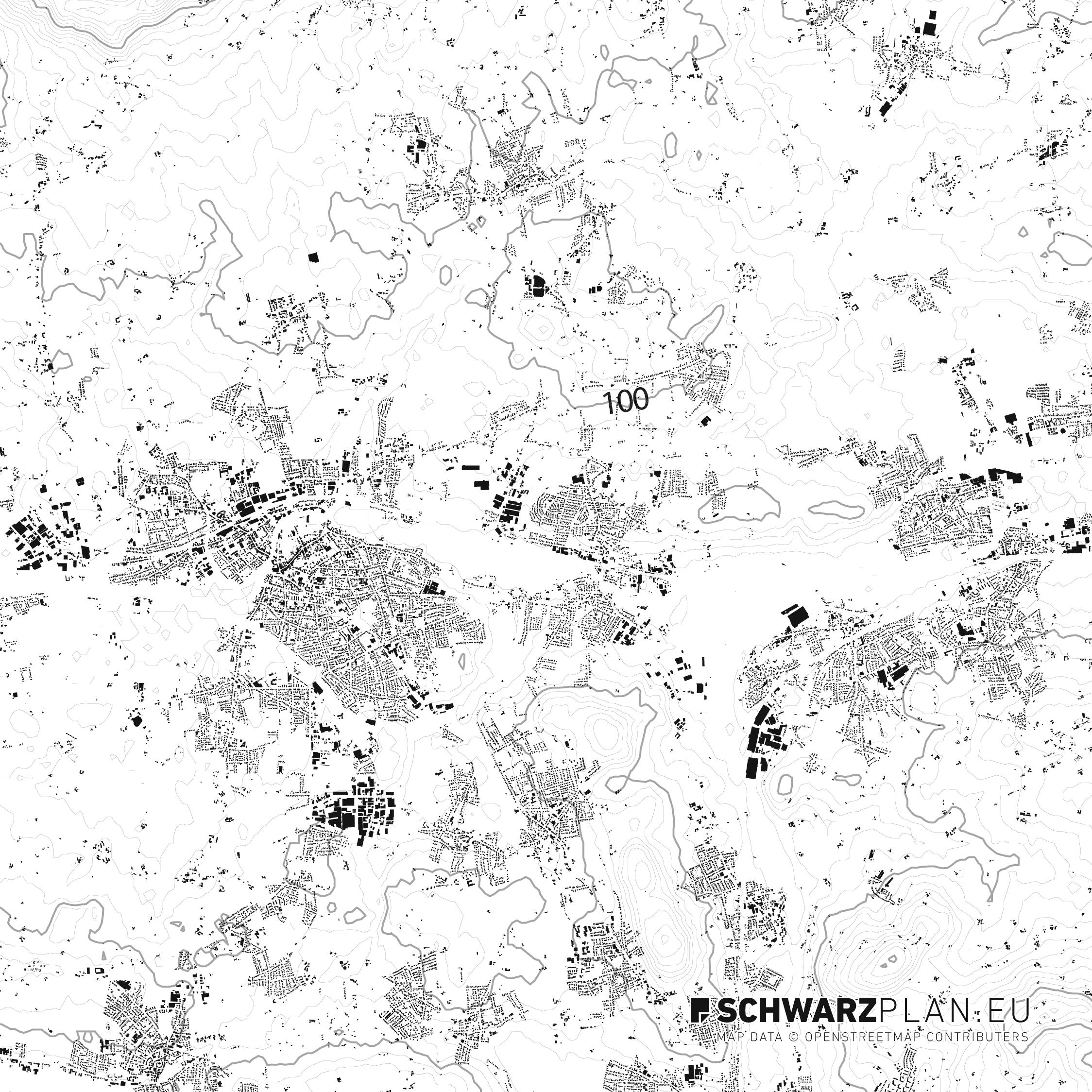 Schwarzplan von Bünde, Kirchlengern und Löhne