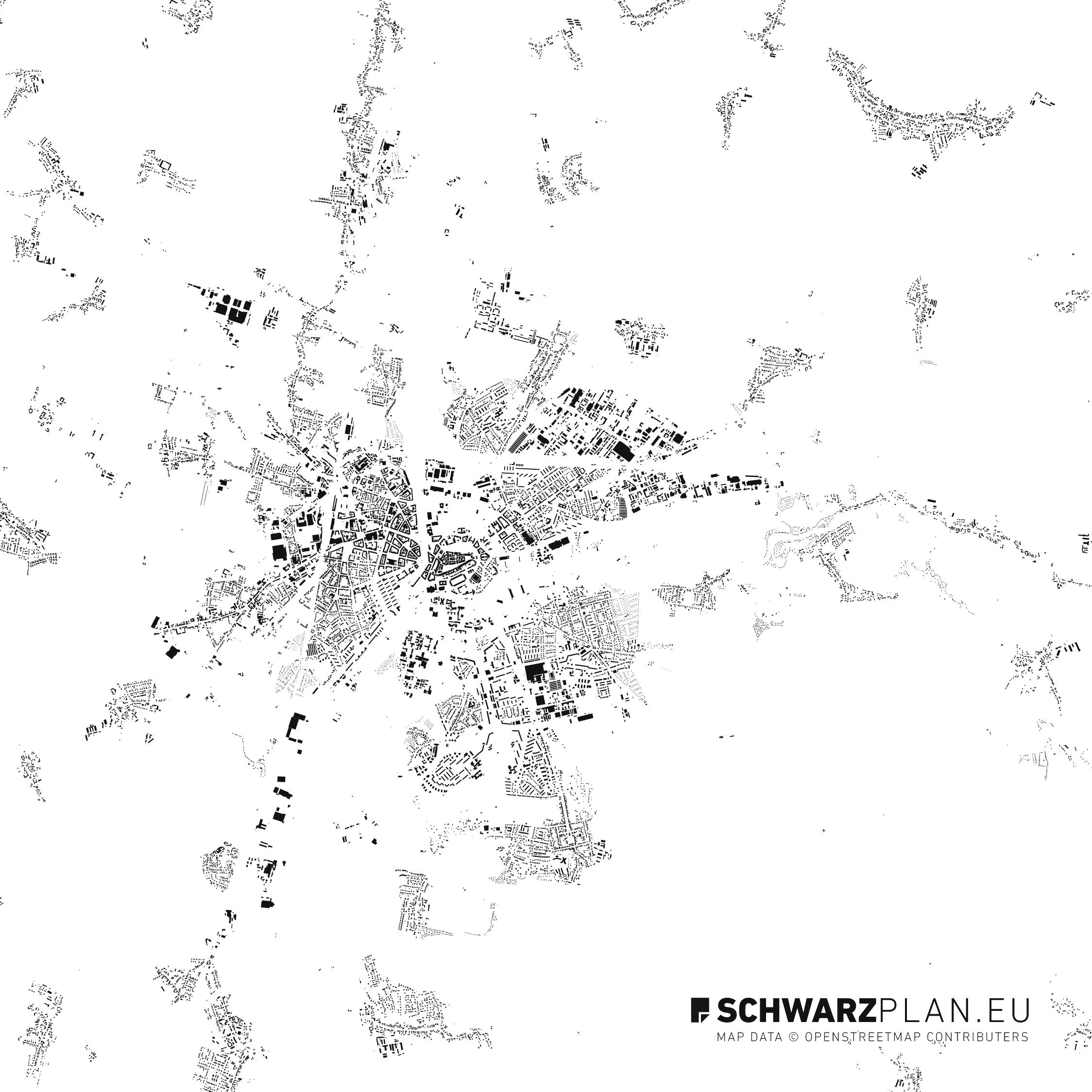 Figure ground plan of Hradec Kralove