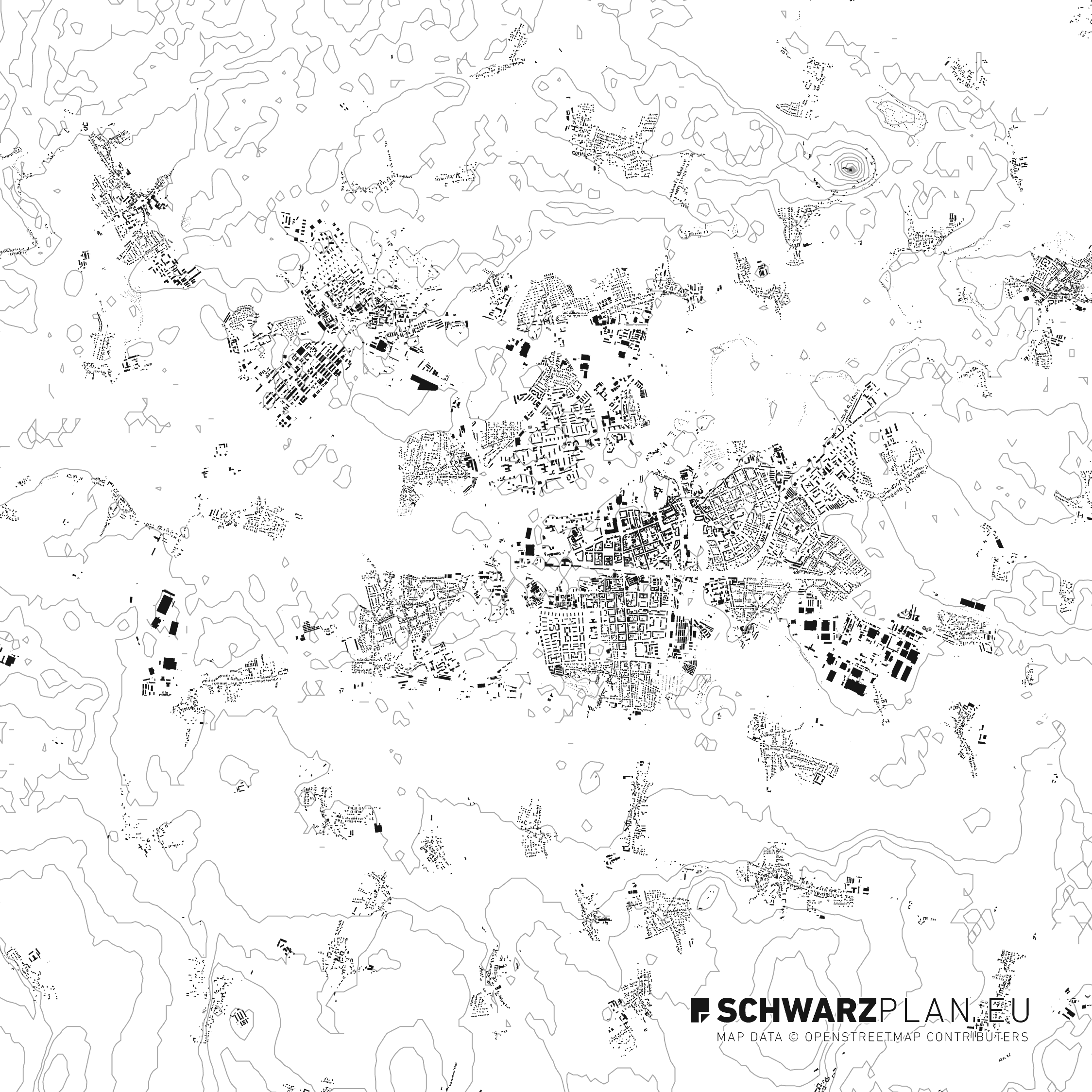 Schwarzplan von Pardubitz