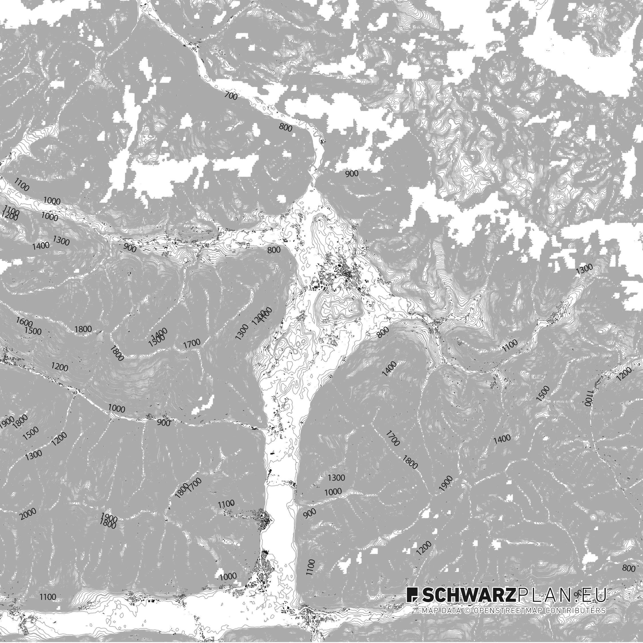 Schwarzplan von Saalfelden am Steinernen Meer