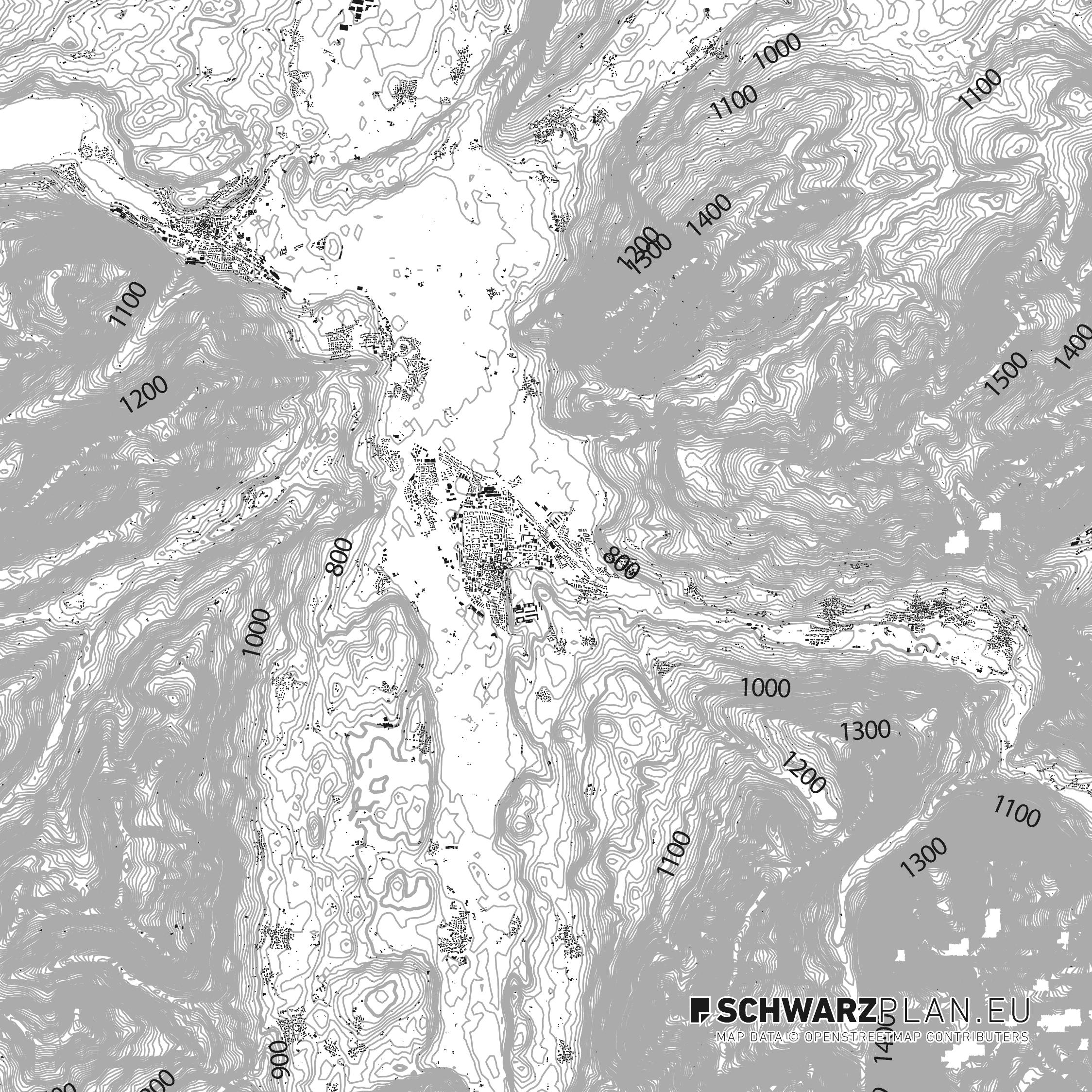 Schwarzplan von Sonthofen, Immenstadt & Oberstdorf