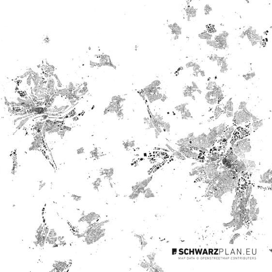 Figure Ground Plan of Tübingen and Reutlingen