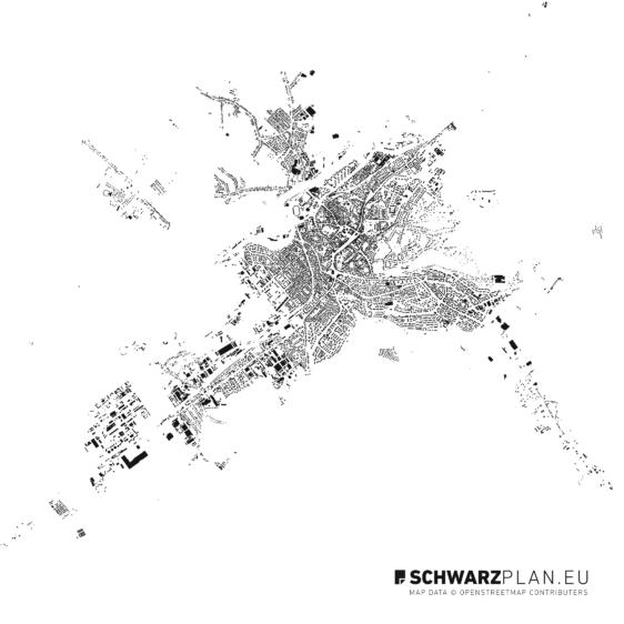 Figure ground plan of Targu Mures in Romania