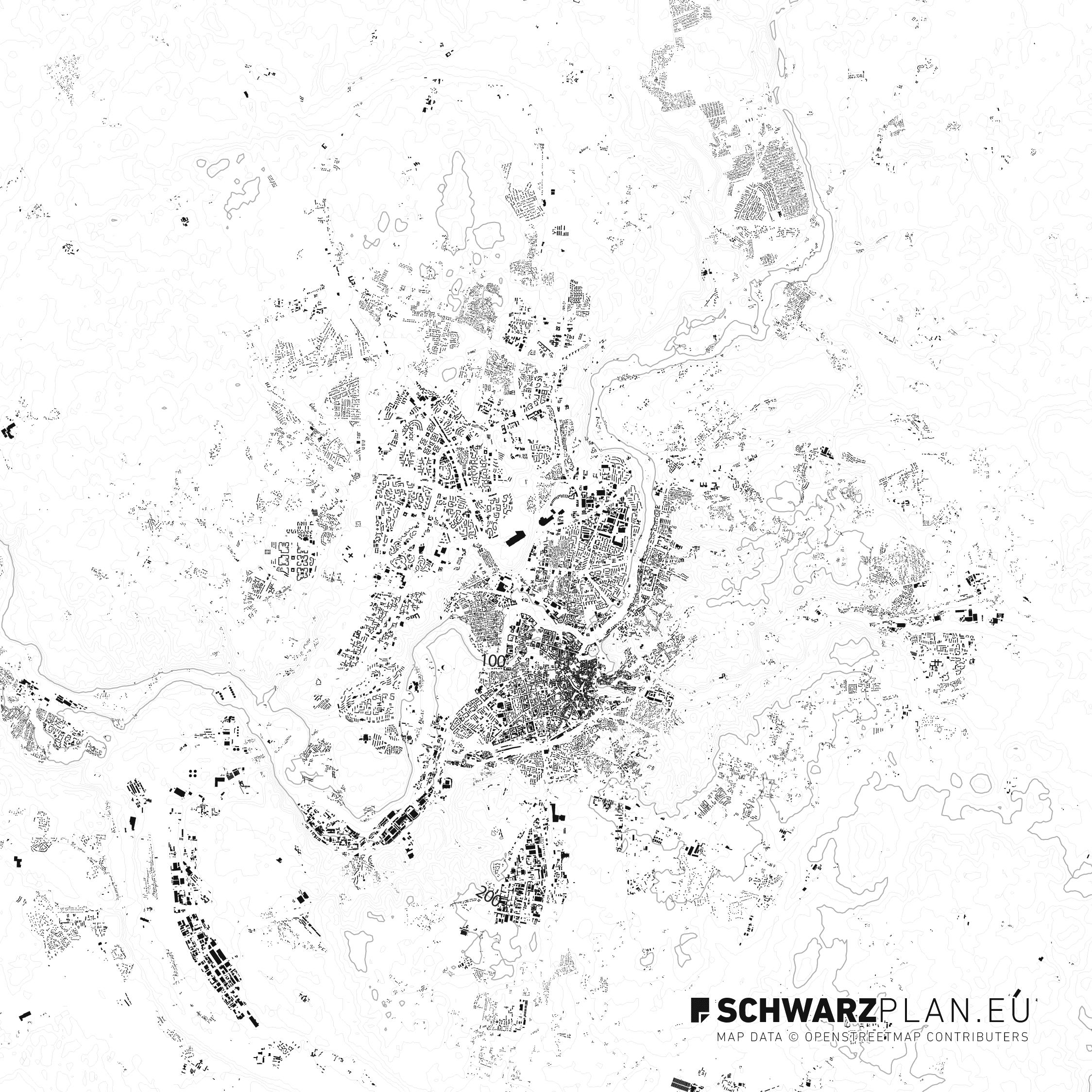 Schwarzplan von Vilnius in Litauen